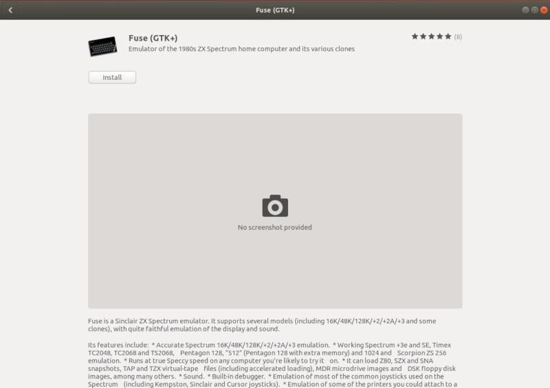 Fuse эмулятор ZX Spectrum в Ubuntu