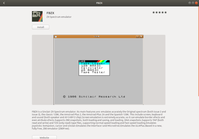 FBZX эмулятор ZX Spectrum в Ubuntu