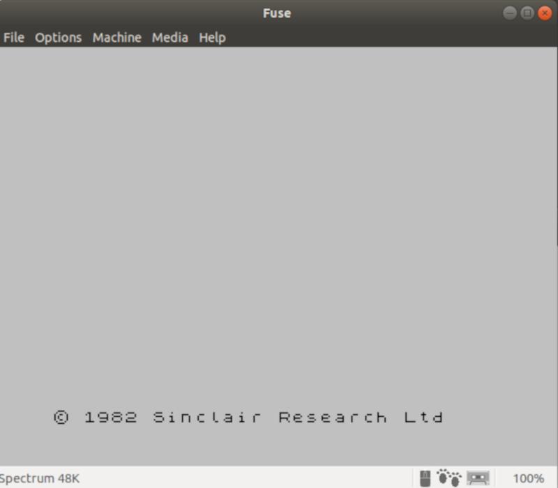 Начальный экран ZX Spectrum в программе Fuse