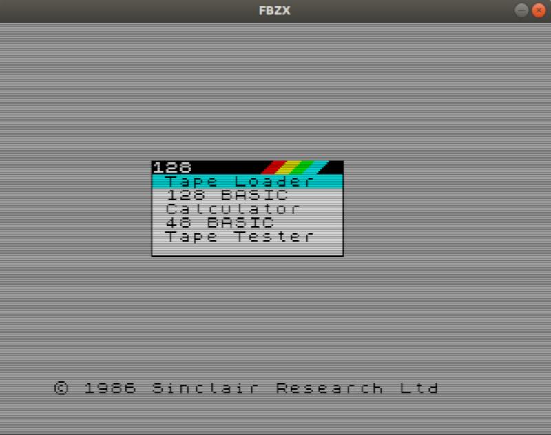 Начальный экран ZX Spectrum в программе FBZX