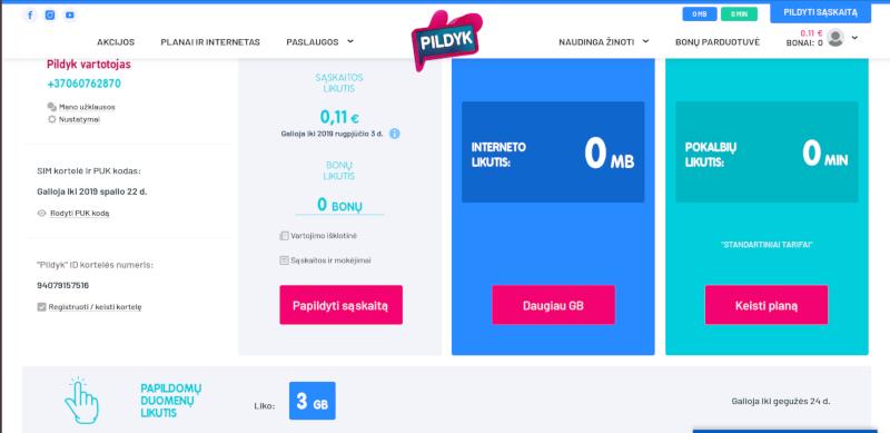 Баланс на сайте Pildyk