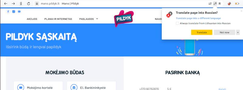 Сайт Pildyk на русском языке