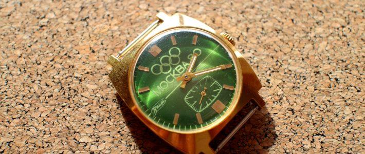 Часы, которым исполнится 40 лет. Обзор часов ЗИМ с боковой секундной стрелкой в позолоченном корпусе (Au10) и зеленым циферблатом Москва Олимпиада-80.